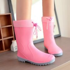Candy color Womens natural rubber water-proof Mid Calf Boots rain boots Shoes