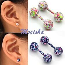 Pair Stainless Steel Cartilage Helix Tragus Ring Ear Barbell Stud Earring 18Ga