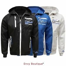 MENS LIGHTWEIGHT WATER PROOF WINDBREAKER CASUAL JACKET HOODED RAINCOAT