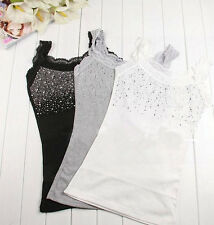 Lace Camisole Sequins Sleeveless Bodycon T-Shirt Rhinestone Tank Tops Blouse JD