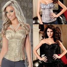 2014 Sexy Ladies Waist Training Satin Corset Top Lace Up boned Bustier S-6XL Y