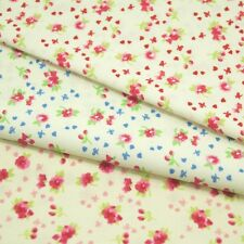 Floating Hearts Bows Flowers Summer Floral 100% Cotton Fabric