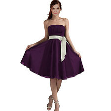 Sexy A-Line Strapless Chiffon Formal Bridesmaid Cocktail Party Dress Deep Purple