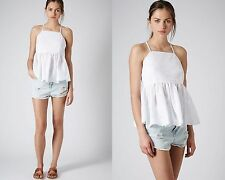 NEW TOPSHOP WHITE COTTON PEPLUM TOP VEST CAMI SUMMER TEE UK 6,8,10,14,16 AD39