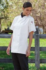 Women's Tahoe Chef Coat, 10 Buttons, Short Sleeve 478 Sz XS - 6X Black  or White