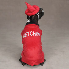 Ketchup Bottle Dog Puppy Pet Costume Party Halloween Red Size: Misc