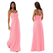 Gorgeous Long Flowing Formal Bridesmaid Dress Evening Party Night Gown Pink