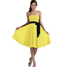 Sexy A-Line Strapless Chiffon Formal Bridesmaid Cocktail Party Dress Yellow