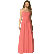 Strapless Full Length Chiffon Bridesmaids Dress Formal Evening Gown Coral Red