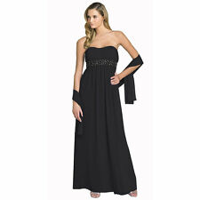 Beaded Strapless Formal Long Evening Gown Bridesmaid Dress with Shawl Black