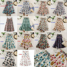 Fashion Lady Floral Pleated Long Dress Girl Elastic Belt Waist Multi-color Skirt