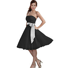 Sexy A-Line Strapless Chiffon Formal Bridesmaid Cocktail Party Dress Black
