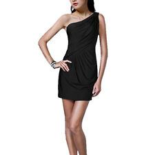 Fashion Draped One shoulder Jersey Cocktail Mini Dress Club Party Wear Black