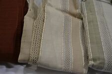 JCPenney WEST PRINT STRIPE Pinch Pleated Drapery Pair MACRAME LINED CURTAINS