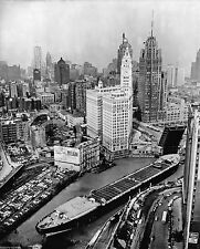 1953 LARGEST SHIP ON CHICAGO RIVER AERIAL HISTORICAL PHOTO