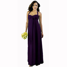 Long Flowing Ruffled Front Formal Bridesmaid Evening Dress Maxi Gown Deep Purple