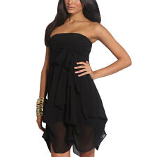 Hitched Chiffon Bubble Hem Convertible Cocktail Party Dress Black