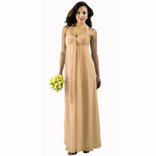 Long Flowing Ruffled Front Formal Bridesmaid Evening Dress Maxi Gown Apricot
