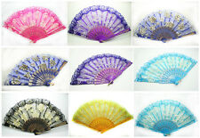Spanish Style Flower Fabric Lace Folding Hand Dancing Wedding Party Decor Fan