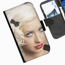 Christina Aguilera Leather wallet phone personalised case for Sony Xperia Phone