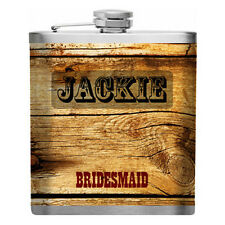 Personalized Wood Design Stainless Steel Liquor Flask Bridesmaid Groomsmen Gift
