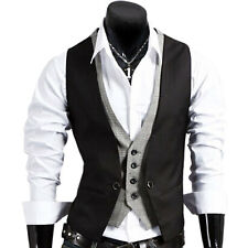 New Fashion Men's Casual Top V-neck Slim Fit Buttons Vest Waistcoat Skinny Dress