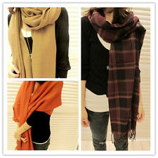 New Hot Women Autumn Winter Wool Shawl Collar Grid Long Scarf Neck Warmer W028 h
