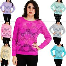 New Womens Ladies Small Heart Pattern Mesh Net Knitted Jumper Top Size 8 10 12 S
