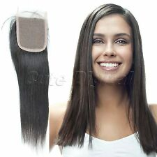 """Brazilian Straight Virgin Remy Human Hair Pieces Lace Top Closure 4""""x4"""" 10-16''"""