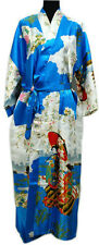 Chinese Silk Women's Kimono Robe Gown sleepwear Blue Sz: M L XL XXL XXXL
