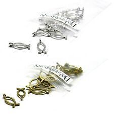 Lot of 50 Ichthus Christian Fish Charms 17mm Long Plated Over Pewter Base Metal
