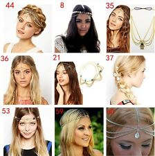 Metal Fatima Infinity Leaf Flower Tassel Head Chain Headband Headpiece Hair band