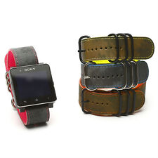 New Zenus Replacement Camo Leather Strap Wrist Band For Sony SmartWatch 2 SW2