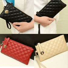 #gib Fashion Women Clutch Purse Bag PU Leather Satchel Handbag Rhombus Pattern