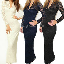 Women's V Neck Lace Bridesmaid Evening Cocktail Party Prom Gown Long Maxi Dress