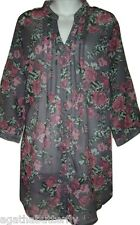 Blouse Shirt Tunic Top Grey Floral Long Loose Fit La Redoute 18/20 & 22/24 NEW