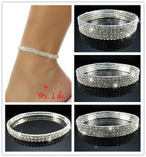 Free Brilliant VEGAS Clear Rhinestone Stretch Anklets 1ROW~5ROW Bridal Jewelry