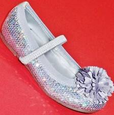 Girl's Toddler SONOMA IZZIE Silver Sequin Pom Pom Mary Jane Slip On Dress Shoes