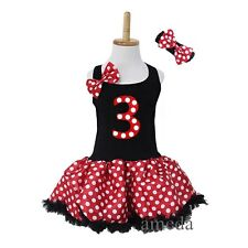 Black Red Polka Dots Minnie Mouse Number 3 Birthday Pettiskirt Tutu Party Dress