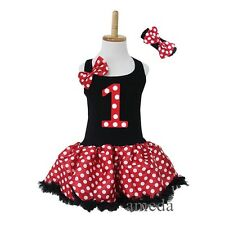Girl Black Red Polka Dots Minnie Mouse 1st Birthday Pettiskirt Tutu Party Dress
