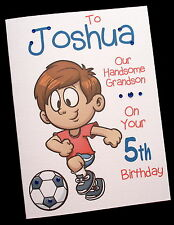 Personalised FOOTBALL Birthday Card 3rd 4th 5th 6th 7th Any SON GRANDSON NEPHEW