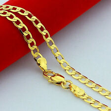 24K Yellow Gold Plated 4mm-10mm Mens Curb Chain Necklace Links 20inch - 30inch