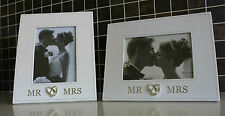 Wedding Photo Frame Bridal Party Mr & Mrs Bride and Groom Table Picture Silver