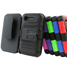 For LG Optimus Zone 2 VS415PP Fuel L34C Rugged Hybrid Case Belt Clip Holster
