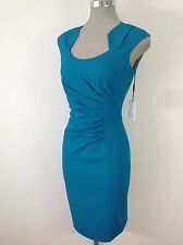 Calvin Klein NEW Modern and Sexy Lagoon Dress Side Front Ruching and fancy neck