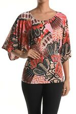 WOMEN INDIAN PRINT KIMONO SLEEVE TOP OR BLOUSE - MADE IN USA (MORE SHADES)