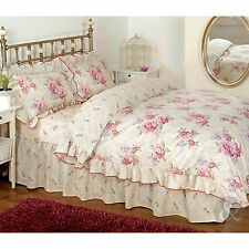 Vintage Floral Frilled Duvet Cover – Cream Beige Pink Bedding Set + Pillow Cases