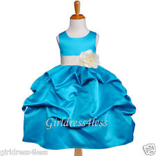 TURQUOISE/IVORY WEDDING PAGEANT PICK UP FLOWER GIRL DRESS 6M 12M 2 3/4 6 8 10 12