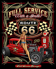 Full Service with a Smile Route 66 Hot Rod with Babe T-Shirt  FREE Shipping