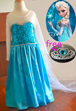 Kids Girls Dresses Frozen Elsa dress costume party dress snowflakes cape